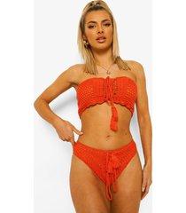 gehaakte strapless bikini top met veters, orange