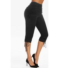 high waist cinched ruched capri pants