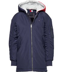 hooded flight parka parka-jas blauw tommy hilfiger