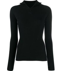 barrie zipped turtleneck knitted top - black