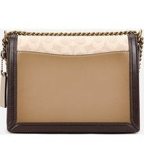 coach women's signature block hutton shoulder bag - tan sand