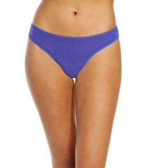 women's on gossamer hip-g mesh thong, size medium/large - blue