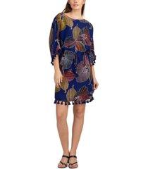 trina turk printed tassel-trim dress