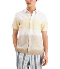 sun + stone men's dean linen tie-dye short sleeve shirt, created for macy's