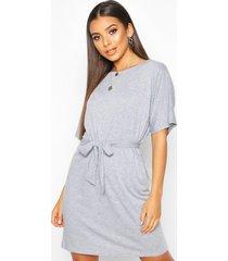 belted jersey t-shirt dress, grey marl
