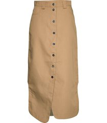 double cotton knälång kjol beige ganni