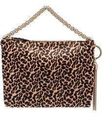 jimmy choo calle leopard print shoulder bag - brown