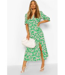 daisy print v neck split front midaxi dress, green