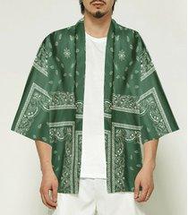 chaqueta de punto con estampado de cachemir con protección solar y ajuste holgado para hombre