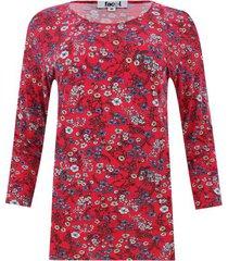 camiseta estampada manga 3/4 color rojo, talla xs