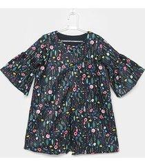 casaco infantil lilica ripilica estampado floral feminina