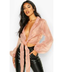 organza tie front cropped shirt, rose