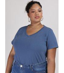 blusa feminina plus size manga curta decote v azul escuro