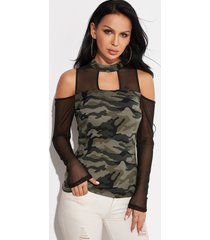 camouflage stand neck cold shoulder long sleeves t-shirts