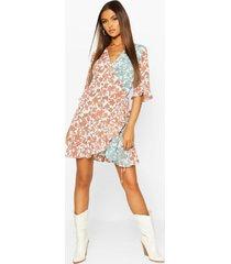 contrast floral print frill hem wrap skater dress, rust