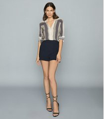 reiss lana - textured tailored shorts in navy, womens, size 12