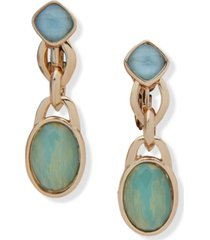 anne klein gold-tone stone clip-on drop earrings