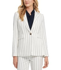 dkny petite striped single-button blazer