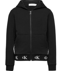 monogram stretch zip through hoodie trui zwart calvin klein