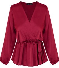 satijnen overslag blouse bordeaux