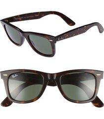men's ray-ban 'classic wayfarer' 50mm sunglasses - dark tortoise/ green