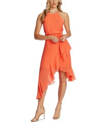 cece flocked ruffled asymmetrical dress