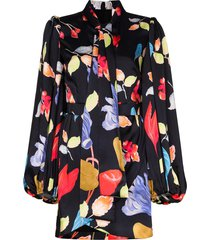 peter pilotto floral printed mini shirt dress - black