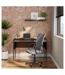cadeira de escritório diretor giratória wrigley cinza