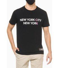 camiseta mc regular silk new york city - preto - pp