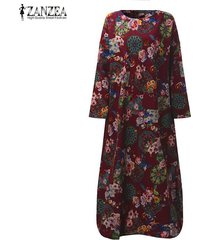 zanzea mujeres vestido largo maxi floral de la vendimia de impresión vestidos de alas de murciélago de manga larga bolsillos casual tamaño flojo vestidos plus -chile rojo