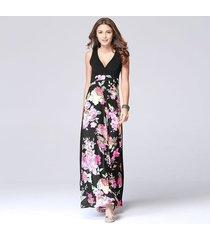 vestido maxi estampado étnico vintage sin mangas para mujer vestido de fiesta de playa casual con cuello en v sexy para mujer-púrpura