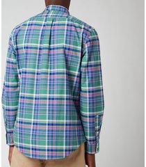 polo ralph lauren men's slim fit yard dyed oxford check shirt - green/pink multi - xxl