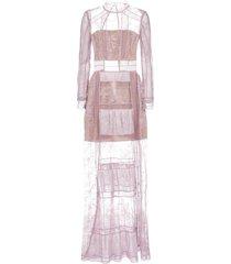 self-portrait fine lace trim maxi dress