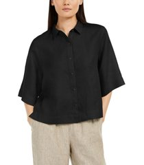 eileen fisher petite elbow-sleeve button-front top