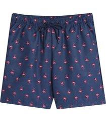 pantaloneta playa flamingo color azul, talla l