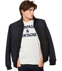 black mèlange thermo jacket - suede look