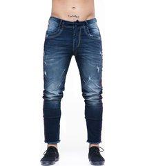 jean oscuro con banda lateral