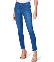 women's paige hoxton high waist ankle skinny jeans, size 24 - blue