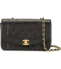 chanel pre-owned 1997 diamond quilted crossbody bag - black