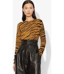 proenza schouler tiger print long sleeve t-shirt ochre/black diagonal/brown xs