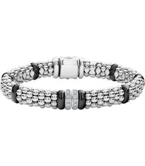 women's lagos black caviar diamond 2-link bracelet
