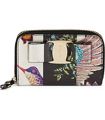 printed leather zip-around wallet