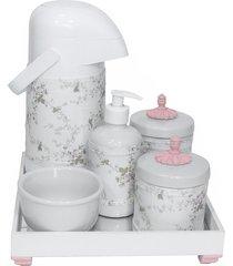 kit higiene espelho completo porcelanas, garrafa e capa provenã§al rosa quarto beb㪠menina - rosa - menina - dafiti