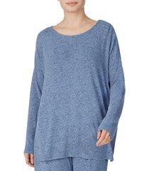 donna karan women's sweater knit top - heather blue - size s