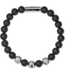 bulova men's black onyx bead bracelet in stainless steel