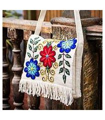 wool flap shoulder bag, 'snow messenger' (peru)