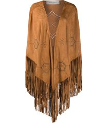 golden goose fringed studded cape - neutrals