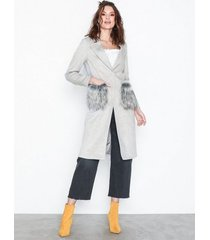 new look faux fur pocket longline coat kappor