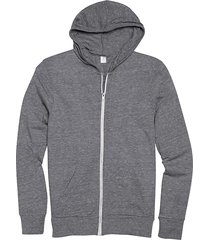 alternative apparel men's gray modern fit full zip eco jersey hoodie - size: xxl