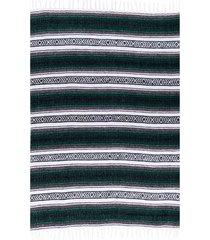 native yoga economy flaza mexican blanket dark green cotton